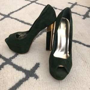 Shoes - Dark forest green heels